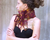 Burgundy and mustard nuno felted scarf in boho style