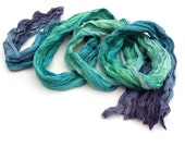 Hair band scarf, boho head scarf, Ombre Blue Green long silk scarf, bohemian scarf silk, custom order