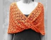 Orange crochet rustic sca...