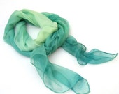 Green hand paint scarf silk, long ombre green scarf, fashion luxury scarf, gift for women under 50