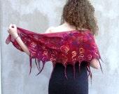 Nuno felt scarf red silk ...