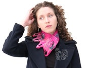 Magenta pink felt long scarf warm neckwarmer with bohemian fringes