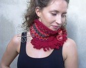 Red knit infinity scarf, Red infinity scarf, Red women infinity scarf, floral scarf