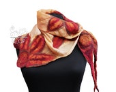 Floral nuno felt scarf square Orange and Mahogany