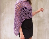 Purpe crochet lace poncho infinity scarf wrap