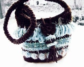 Fringes crochet boho fashion chunky shoulder bag Brown & Blue ice