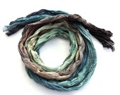 Blue Brown ombre long silk scarf crinkle