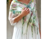 Pastel nuno felt scarf floral silk, Pure nuno felted scarf silk