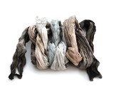 Gray Brown ombre long silk scarf crinkle