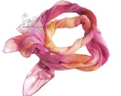 Pink orange ombre silk scarf, Hand paint silk muslin scarf, gift under 50