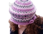 Pink beret slouchy hat, Pink womens beanie, Pink crochet hat stripy warm wool, Gift under 50