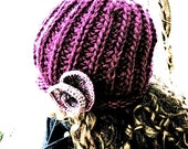 Floral chunky knit hat womens slouchy beanie warm wool customized