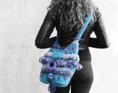 Blue crochet chunky hobo bag with bohemian fringes