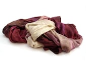 Burgundy long silk scarf in Fall ombre shades