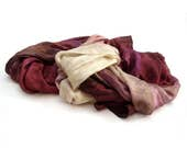 Burgundy long silk scarf ...