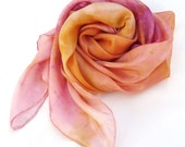 Pink orange square silk scarf bright colours