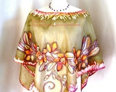 Colorful floral women poncho orchid hand paint silk art blouse wedding bohemian clothing bridesmaid gifts