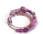 Pink memory wire felt bracelet textile artisan jewelry