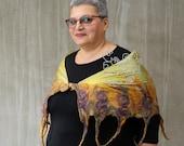 Mustard nuno felt scarf, mustard long felt scarf, Mustard fringes felt scarf, nuno felt scarf for women, felt wrap scarf,