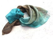 Blue brown ombre silk scarf for women, square silk scarf,  hand paint neck scarf