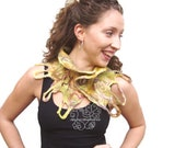 Mustard felt neckwarmer scarf warm merino with loop bohemian fringes