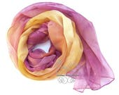 Pink orange hand paint scarf silk long ombre