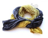 Black and Mustard ombre shades long silk scarf