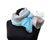 Blue and Sand ombre shades long silk scarf