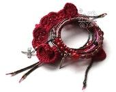 Red memory wire fringes bracelet boho jewellery artisan jewelry