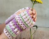 Pastel fingerless mittens hand knit gloves feminine boho striped wool armwarmers Bohemian clothing
