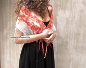 Orange nuno felt silk scarf luxury fashion