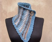 Rustic neckwarmer crochet stripy wool scarf freeform fiber art