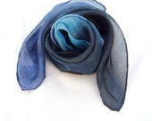 Night Blue hand paint silk square scarf street style