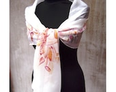 Orchid pastel hand painted silk scarf with flowers for wedding feminine bridesmaid gift