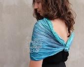 Teal infinity scarf silk, wedding wrap infinity for women, crinkled infinity scarf
