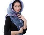 Blue grey Lilac nuno felt scarf, long nuno felt scarf silk, Mother's day gift