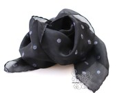 Polka dots Black and White hand paint silk scarf Bohemian clothing for street style