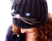 Chunky hand knit womens beanie for winter, gift for sister cute street style