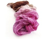Chocolate pink silk scarf long ombre crinkle Bohemian clothing