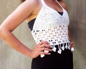 White crochet lace halter...