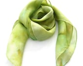 Scarf silk square hand paint pastel green pistachio