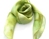 Green scarf square silk scarf,  hand painted pastel green pistachio scarf, Green neck scarf for women, custom silk scarf, large silk scarf