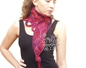 Red felt long scarf warm Burgundy neckwarmer with bohemian fringes
