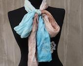 Blue and Sand silk scarf, thin silk scarf, ombre long silk scarf, scarf for hair
