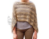Sand poncho women crochet lace shawl