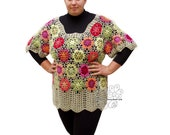 Colorful floral crochet lace tunic. Plus size sweater