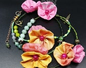 Colorful jewelry, floral jewelry, bohemian jewelry, floral bracelet or necklace, bohemian jewelry for women