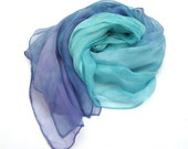 Purple Teal ombre long silk scarf, silk mousseline hand paint scarf, gift ideas summer type women