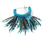 Bohemian fringes beads bracelet turquoise blue artisan jewelry