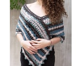 Crochet poncho, Women poncho, teal infinity scarf for women